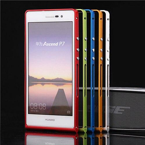 imágenes para TX de Lujo Huawei P7 capa fundas Ultrafino marco de Aleación de Parachoques Para Huawei Ascend P7 caso de Parachoques de Aluminio + destornillador + 2 Película