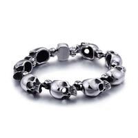 Punk 20cm Long Skull Bracelets For Men Stainless Steel Shiny Skull Charm Link Chain Brecelets S215
