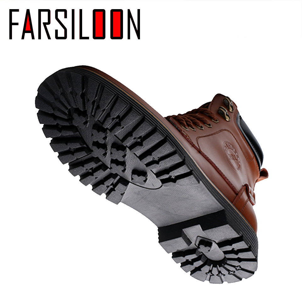 Men's Leather Warm Comfortable Waterproof Boots Men's Boots Round Head Boots Warm Lace Up Solid Rome Men Shoes JLL028 - 6