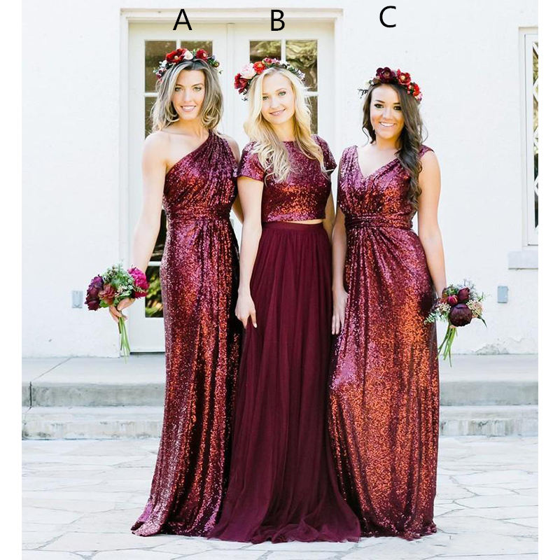 Burgundy Sequins   Bridesmaid     Dresses   Country Mixed Custom Made Wedding Party Guest Gown Two Pieces Junior Maid of Honor   Dress