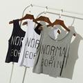Normal es Aburrido Letras Imprimir Mujeres Crop Tops Mujeres de Talla grande Flojo Ocasional Cómodo Suave Modal Camiseta Ropa Al Por Mayor