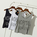 Normal is Boring Letters Print Women Crop Tank Tops Women Loose Casual Plus Size Comfortable Soft Modal Tee Clothing Wholesale