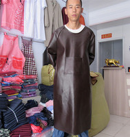 Waterproof PU cover clothing kitchen long sleeved apron leather acid and alkali to increase the fat overalls