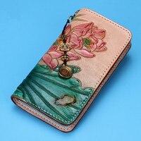 Пояса из натуральной кожи женские кошельки вырезка лотоса Сумка кошельки для женщин длинный клатч растительного дубления кожаный бумажник