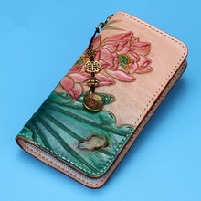 Genuine Leather Wallets Carving Lotus Bag Purses Women Long Clutch Vegetable Tanned Leather Wallet Mother's Day gift