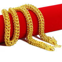 Hip Hop Mens Dragon Chain 23 Inches Yellow Gold Filled Solid Half Smooth and Half Scrub Punk Style Chain Necklace Males Jewelry