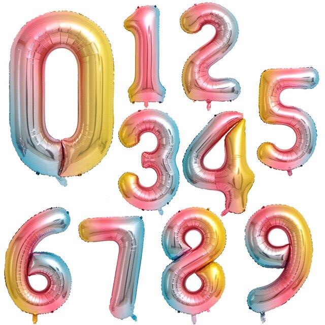 50 pièces 40 pouces Dégradé Couleur Ballons En Papier Rose Or Chiffres Joyeux Anniversaire Décorations De Fête De Mariage Bébé Douche enfants Jouet