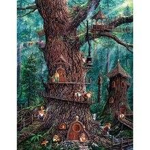 5D DIY Diamond Painting Animated forest tree house mosaic embroidery Crystal Cross Stitch Needlework Handmade Decorative