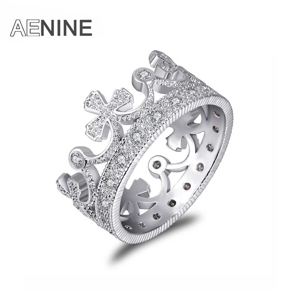 AENINE Luxury Gorgeous Queen Crown Engagement Rings For Women Mosaic Cubic Zirconia Wedding Ring Bands Jewelry Anel R171870183P