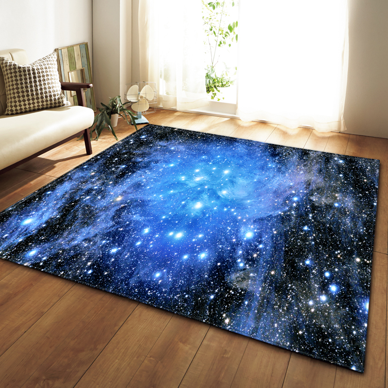 3D Universe Galaxy Planet Rug Carpet Children Room Decor Mat Soft Flannel Bedroom Living Room Baby Crawling Carpets