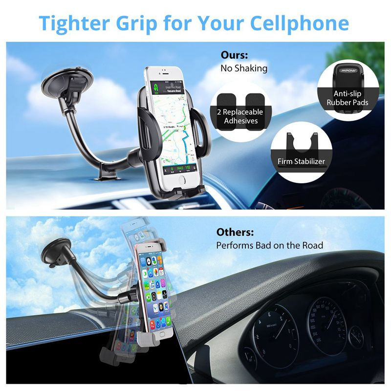 Fimilef Mobile Phone Stand Car Windshield Long Arm Mount Phone Holder 360 Degree Universal Mobile Phone Holder GPS For sumsung (5)
