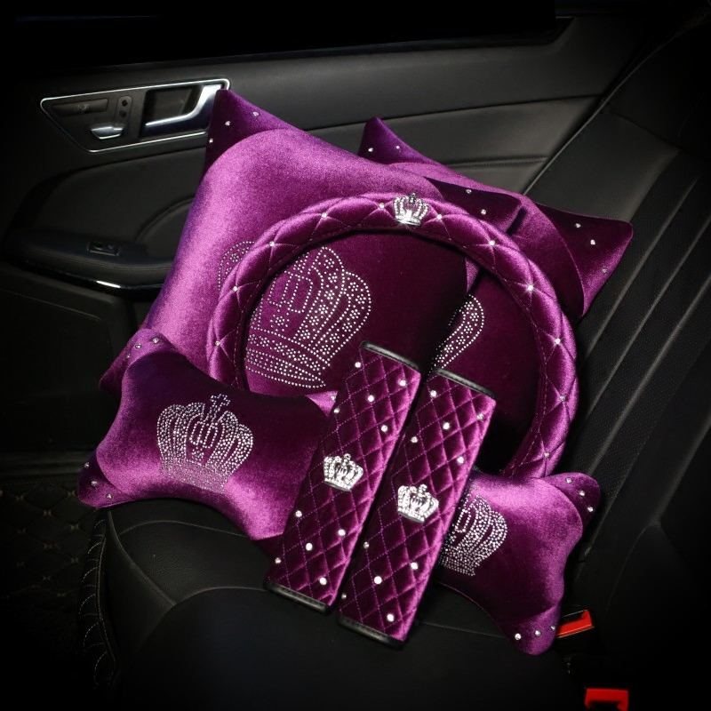 Purple Diamond Crystal Crown Series Car Inerior Accessories Plush Fur Auto Steering Wheel Covers Headrest Seatbelt