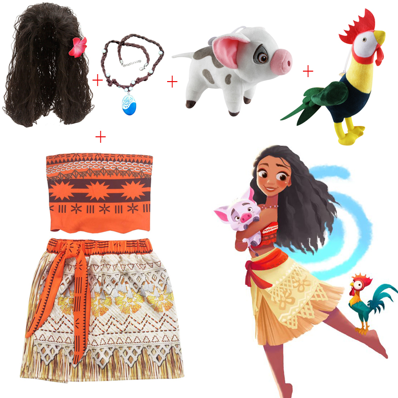 Baby girl clothes Cosplay Princess dress Moana Children Vaiana Girls Party Wedding dresses with Necklace Pet Pig chick Costumes baby girl clothes princess dress moana cosplay costume for children vaiana girls party wedding dresses with necklace costumes