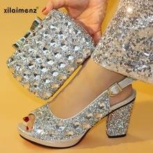 20100ba6a Verão New Vindo Cor Verde Nigeriano Sapatos e Bolsas Para Combinar com  Sapatos com Saco de Sapato Italiano e Saco Conjunto de Co.