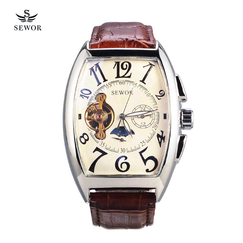 SEWOR Waterproof Business Tourbillon Men's Leather Watch relogio masculino moon phase Automatic Mechanical Wristwatches 4850 2017 new sale mechanical man watch relogio masculino gold white watchband automatic date week movt waterproof mans wristwatches