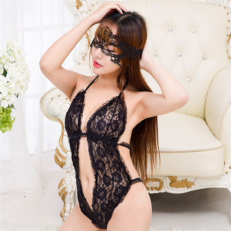 Buy lace deep V teddies mask Erotic lingerie Crotchless Sheer halter stocking Sex Toy sleeve flower corset Nightwear role play women