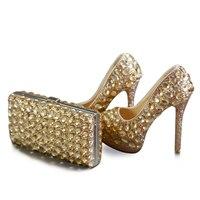 Шампанского хрустальные туфли невесты с подходящая сумочка роскошные высокие каблуки платформы Свадебная Женские свадебные туфли с сумоч