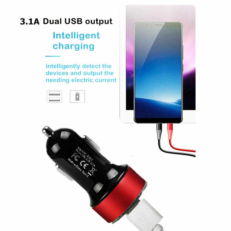 عالمي سريع مزدوج USB سيارة مهايئ شاحن LED عرض 5 فولت 3.1A السيارات ABS USB سيارة الهاتف شاحن آيفون هواوي Z2