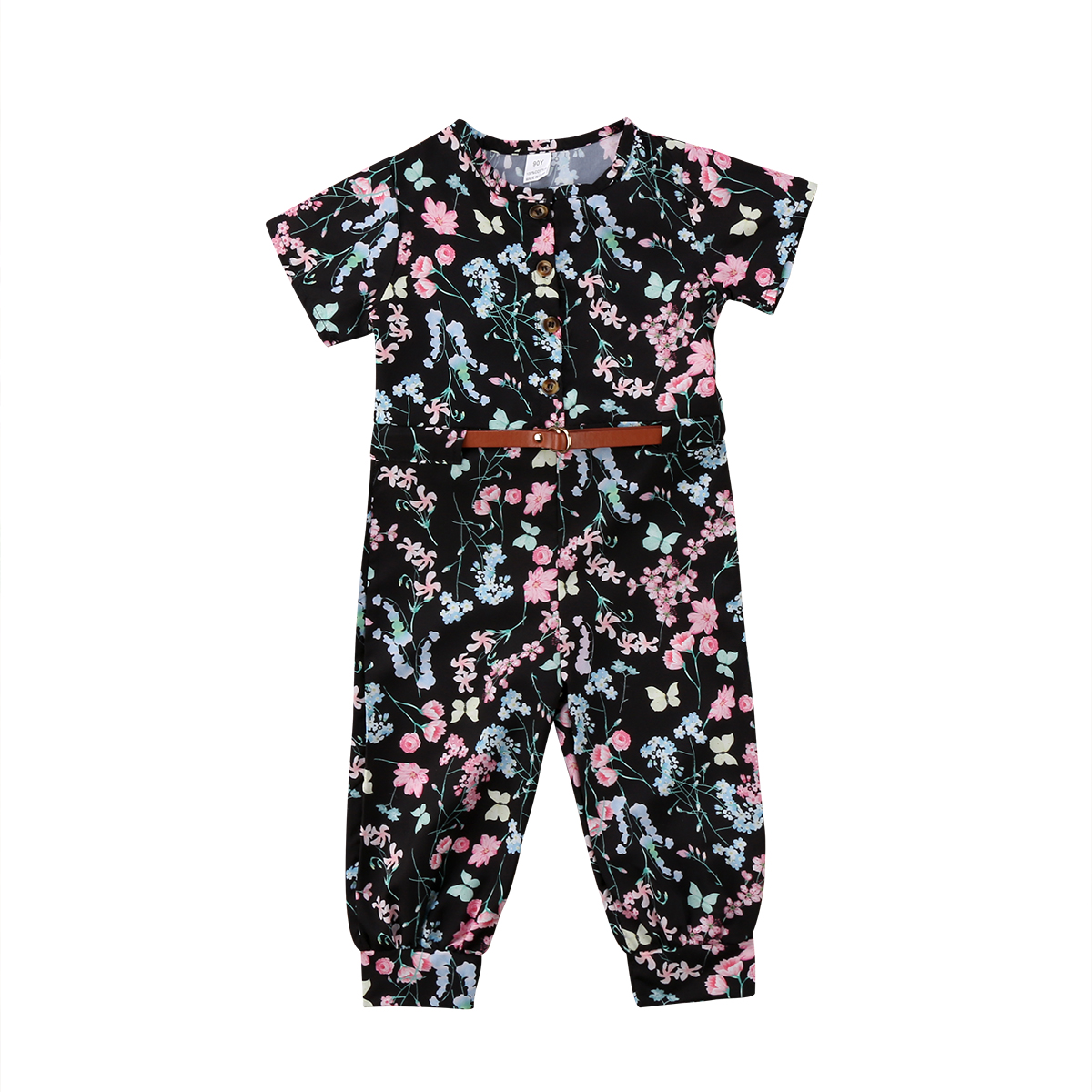 Romper Floral Toddler Kids Baby Sashes Print Button Girl Summer Jumpsuit Playsuit Outfit Clothes Set Rompers