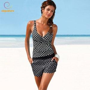 Image 3 - 2020 Plus Size Swimwear Women Tankini Swimsuits High Waisted Bathing Suits Polka Dot Swimsuit Vintage Retro Bikini Set Beachwear
