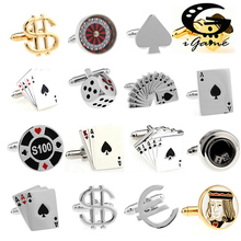 Free Shipping Men Cuff Links Gamble Casino Series Roulette Dice Poker Jeton Design Fashion Cufflinks Wholesale amp retail cheap Tie Clips Cufflinks Trendy Simulated-pearl Metal Copper Figure igame