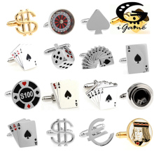 Free Shipping Men Cuff Links Gamble Casino Series Roulette Dice Poker Jeton Desi