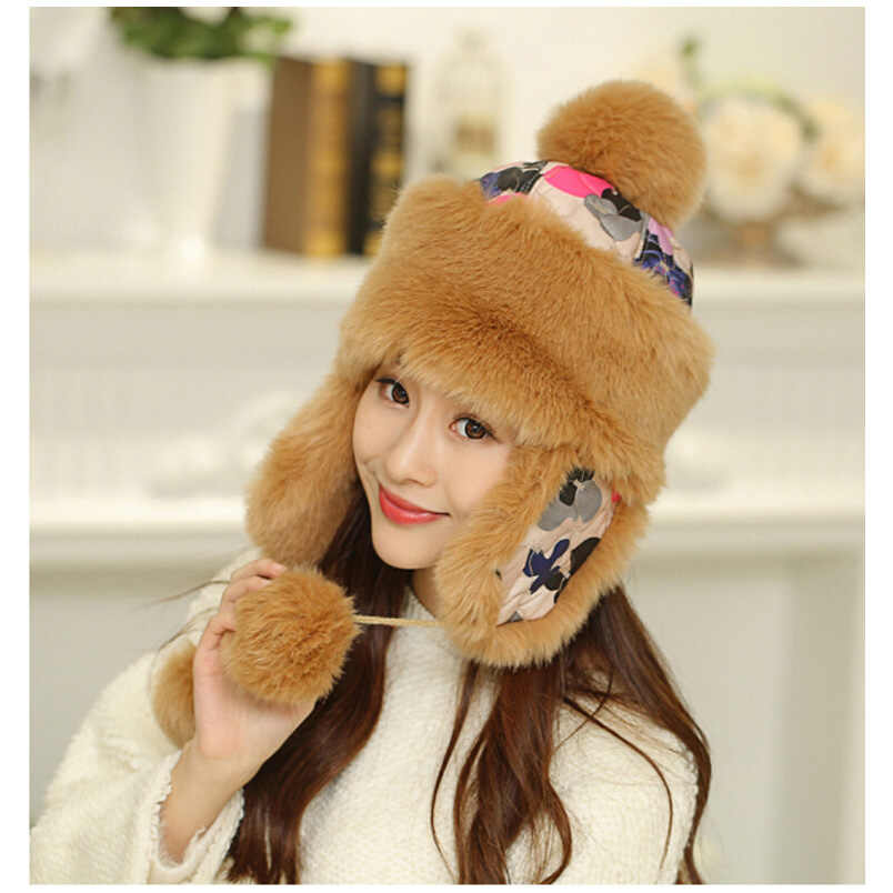 2b54f920833 New Arrival Bomber Hat Autumn Winter Hat For Women Girls Earflap Hat Cap  Cute Thicken Warm