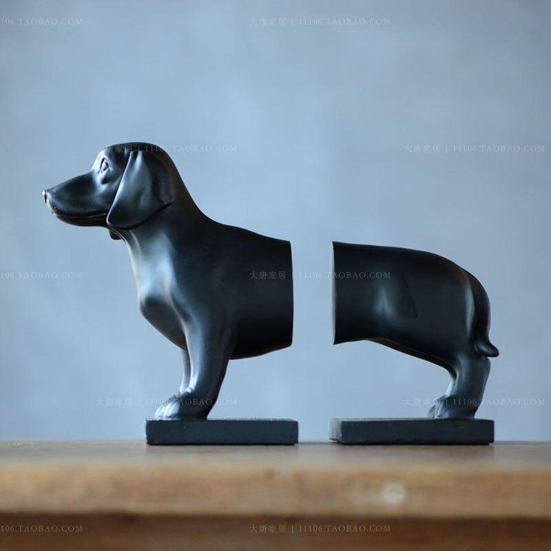 Totem résine maison un cadeau de décoration porcelaine qualité résine décoration de la maison Chiens chien gwynne teckel serre-livres fin serre-livres