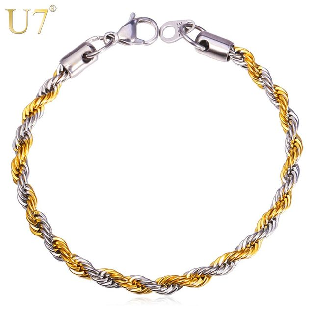 U7 Hiphop Two Tone Bracelet Men Jewelry Gold Color 316l Stainless Steel 5 Mm 22cm Rope
