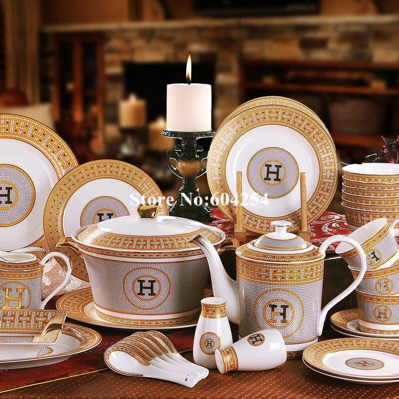 58 pcs stlye europeia cerâmica jogo de jantar de Ouro-aros conjuntos de louça china conjunto osso tigelas pratos presente de inauguração
