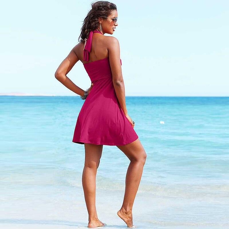 Hot Multy Way Feminine Cover Ups 2017 Removable Padding Convertible Plus Size Women Beach Dress S.M.L.XL 4