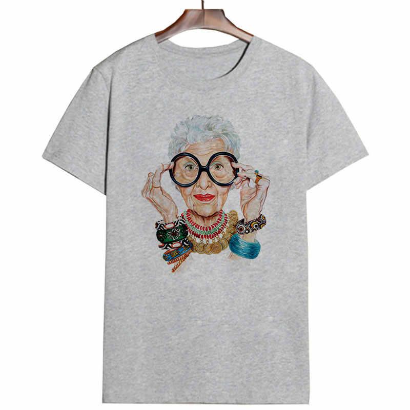 Zomer Vogue Grootmoeder Print T-shirt Vrouwen O-hals Korte Mouw Alpaca Harajuku Top Voor Tshirt Gothic Guns N Roses Muse t-shirt