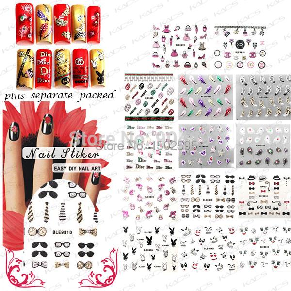 HOTSALE 90 Hoja/LOT 3d Nail Art Sticker Hojas Diseño Francés Glitter Calcomanías de uñas de arte, diseño diferente empaquetado individualmente