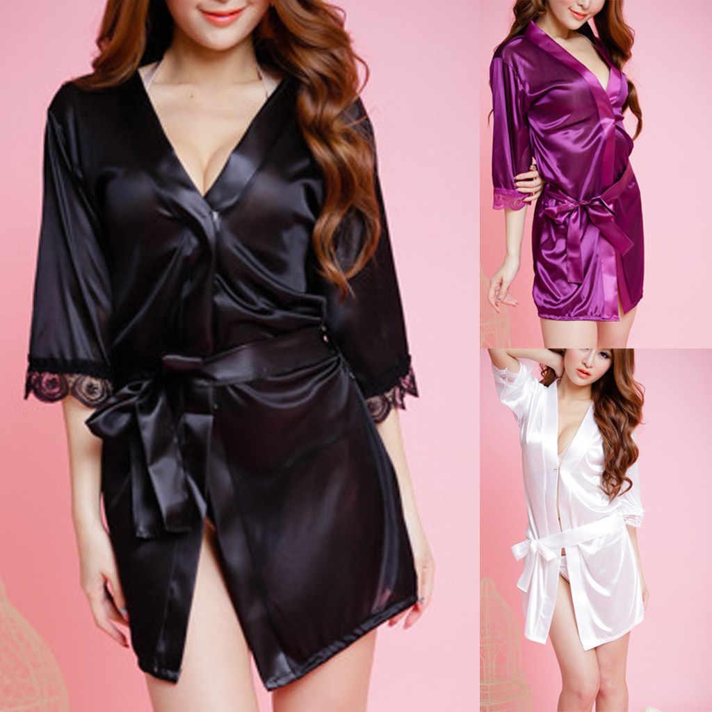fb5cfaab4e Women Silk Kimono Sleepshirts Babydoll Lace Sexy Lingerie Bath Robe  Nightwear Female Elegant Belt Underwear Night