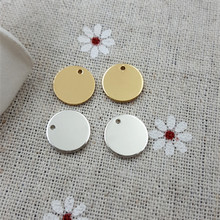 High Quality 20 Pieces/Lot Diameter 10mm Polished Surface Round Small Tag Charms Engraved Tags For Diy Jewelry Making