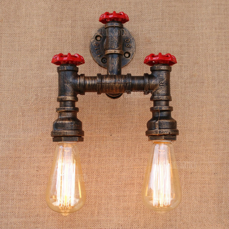 2 Lights Iron Water Pipe Loft Style Wall Lamp Vintage Industrial Bedside Light Fixtures For Home Lightings Bar Cafe Living Room industrial vintage wall lamps simple style wall lights loft little umbrella double arm bedside lamp restaurant light fixtures