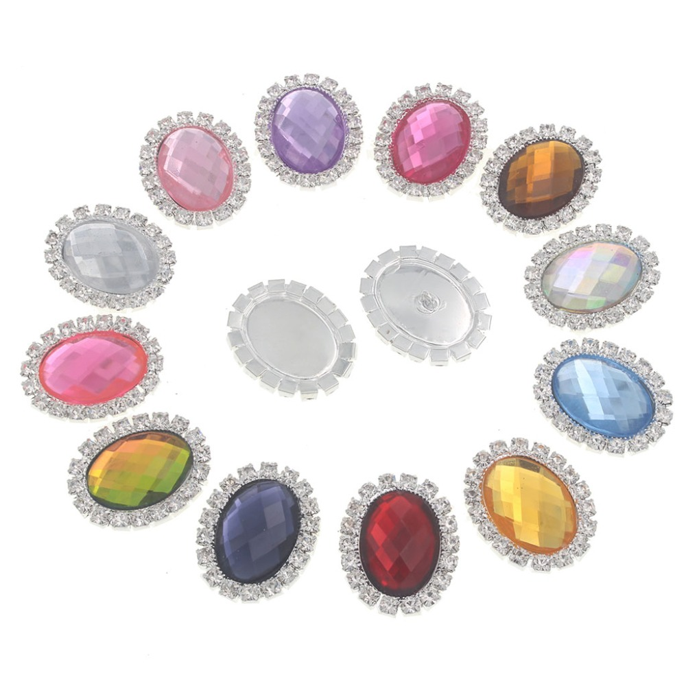 20pcs 23mm Round Colorful Acrylic Embellishment Rhinestone Buttons with Flat Back Crystal Button DIY Accessories