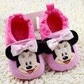 La moda de Nueva Otoño del Resorte de los Bebés Primeros Caminante Zapatos Recién Nacidos de Dibujos Animados Minnie Zapatos 0-18 M Zapatos