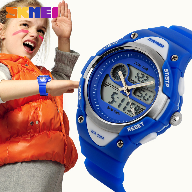 все цены на SKMEI Children Sport Watch Waterproof Analog Digital Wristwatch Quartz LED Dual Display Kids Young Boys Girls Running Watch 1055 онлайн