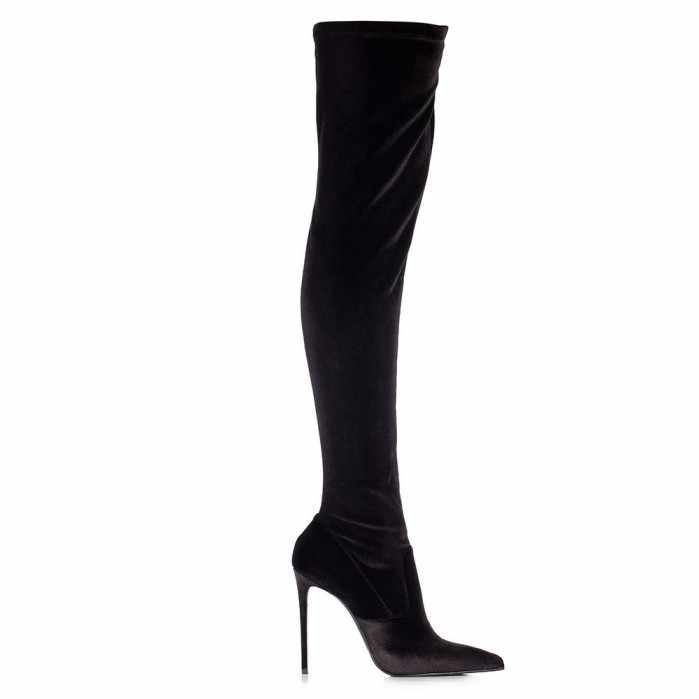 3a47832703439 ... Hot selling Stretch over the knee boot in Velvet sexy pointed toe thigh  high boots woman ...