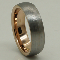 6mm breite frauen/mädchen einzigartige pinsel & glänzenden 2 ton stieg vergoldung & grau hartmetall-ring