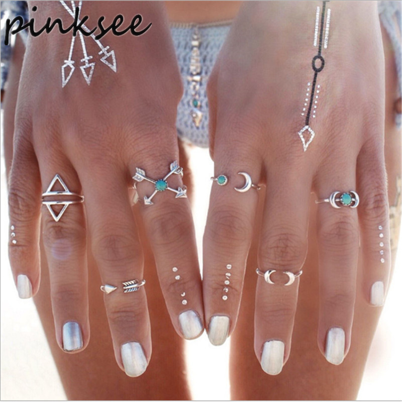 6Pcs/Lot Indian Silver Plated Rings Set Summer Stone Bague Anel Top Anelli