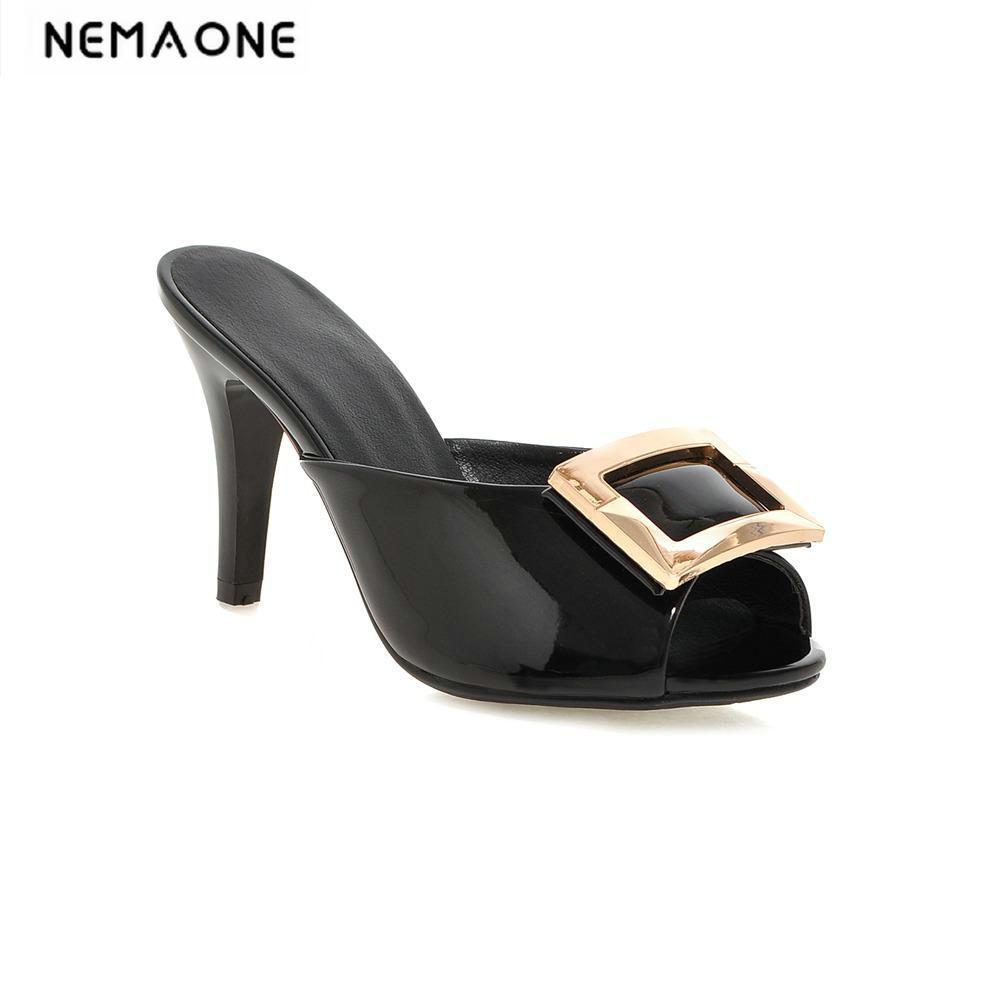 New 2018 luxury high heels women slipper sexy party slides high heeled women sandals summer dress shoes woman large size 34-43 euro size 34 44 pu woman 15 and 17cm high heels platform sandals nightclub woman high heeled birthday party shoes for t station