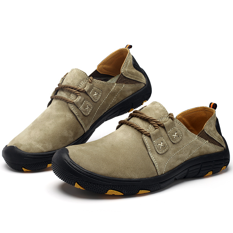 купить genuine leather outdoor shoes men brand breathable jogging trainers running shoes sport trail running shoes men sneakers 385k дешево