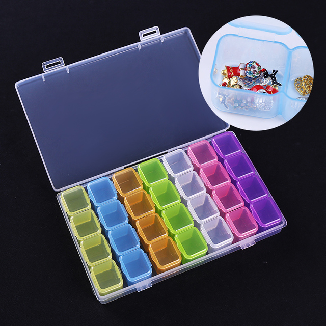 1 Pc 28 Compartment Colorful Empty Storage Box Nail Jewelry Bead ...