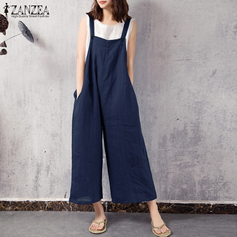 2018 ZANZEA Fashion Women Jumpsuits Summer Dungarees Bib Overalls Strappy Casual Solid Wide Leg Pants Loose Rompers Plus Size