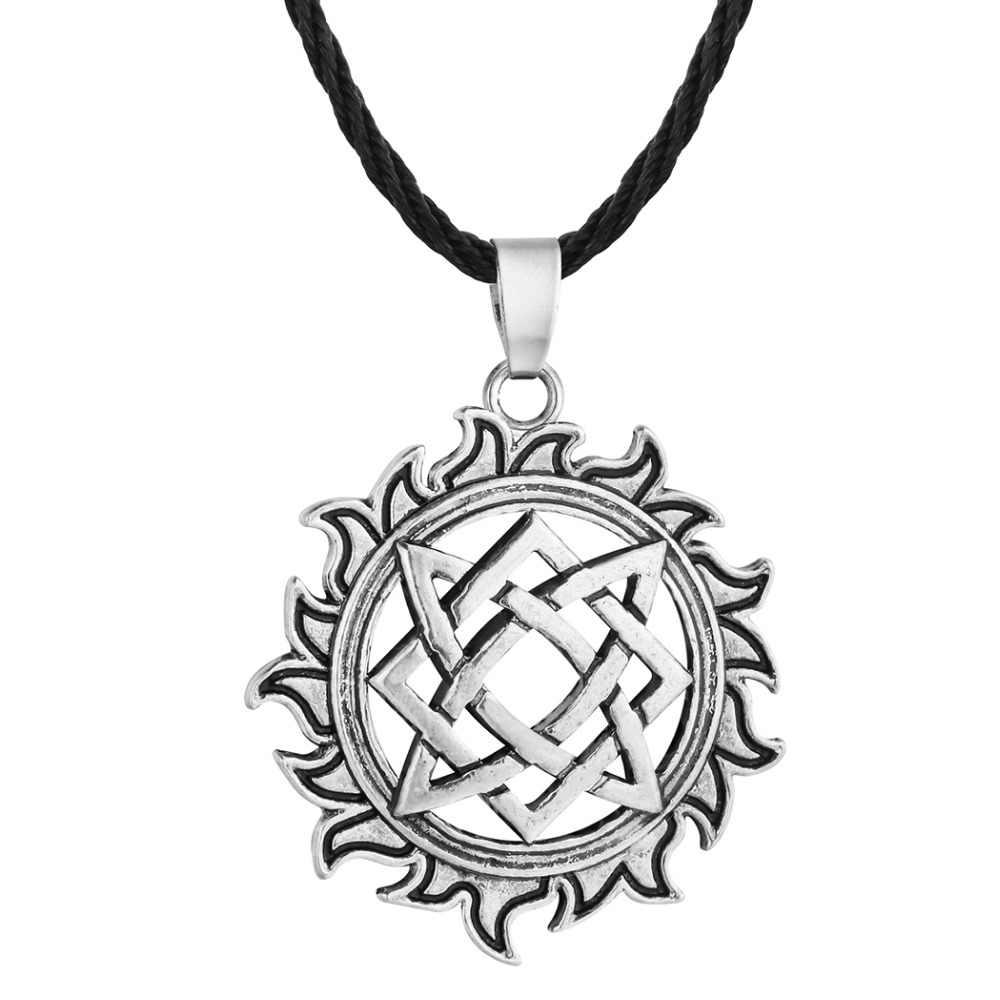 QIAMNI עתיק ויקינג שמש קמע תליון שרשרת נורדי סלאבית כוכב קמע מסיבת צווארון הנורדית קסם מתנת נשים גברים תכשיטים