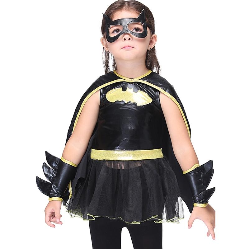 Girls Batman Superhero Batman Costume Halloween Costume for Kids Batgirl Fantasia Cosplay Costumes Christmas Girls Party Dress halloween costume cosplay dance party show props cute siamese bats clothes for kids 228g