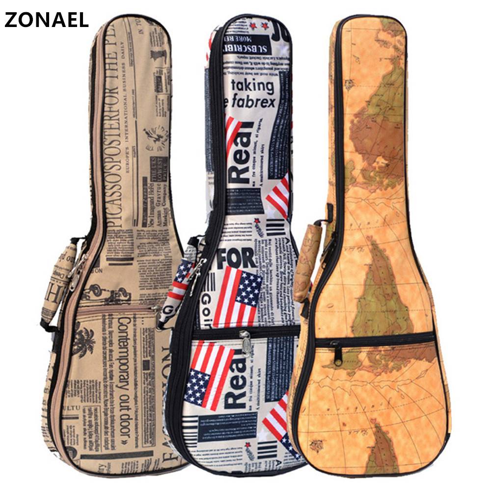 ZONAEL Hot Sale 21 23 26 Inch Waterproof Soprano Concert Tenor Ukulele Bag 10mm Thick Leather Canvas Case Backpack Guitar Parts 12mm waterproof soprano concert ukulele bag case backpack 23 24 26 inch ukelele beige mini guitar accessories gig pu leather
