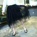 Девушки Весной Новой Корейской Все Матч Кружевные Юбки Принцесса Детская Одежда Черный